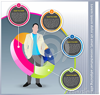 Vector business background with chart and manager