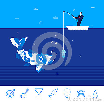 Free Vector Business Concept Illustration. Businessman Fishing Royalty Free Stock Photography - 70442677