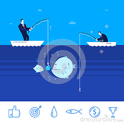 Free Vector Business Concept Illustration. Two Businessmen Collect Chart Stock Photography - 68325672