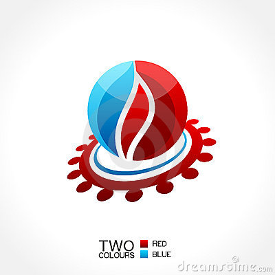 Vector business emblem fire water icon round