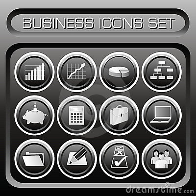 Free Vector Business Icons Set Royalty Free Stock Photos - 1095468