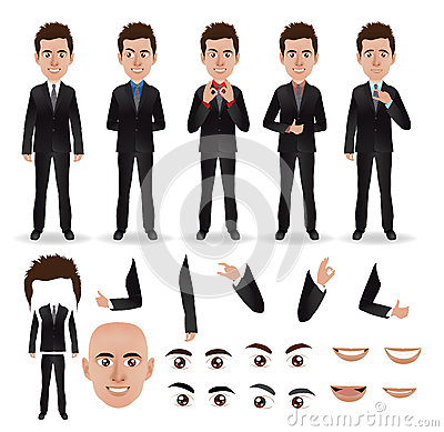 Vector business man with parts of the body