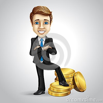 Free Vector Businessman Cartoon Character Put Foot On Royalty Free Stock Photo - 45834185