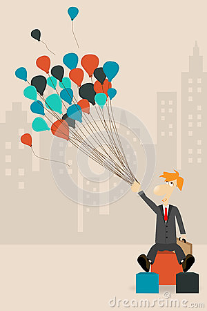 Vector businessman holding a balloon