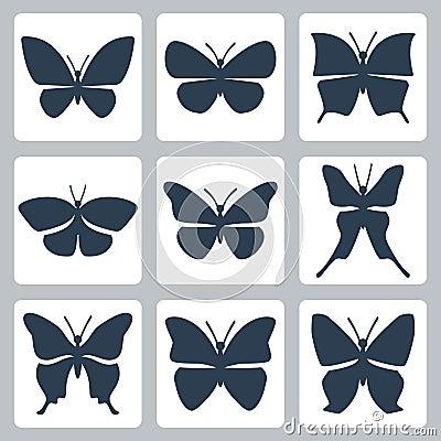 Vector butterflies icons set