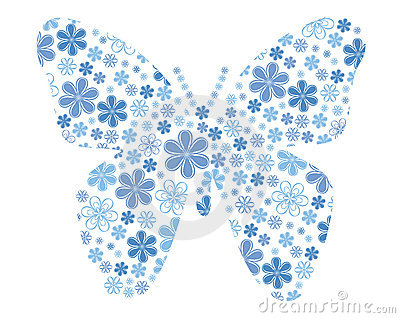 Vector butterfly with flower texture