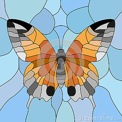Vector of butterfly in mosaic.