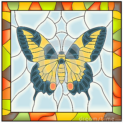 Vector of butterfly in stained-glass window.