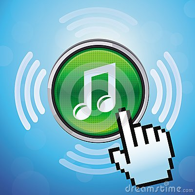 Free Vector Button With Music Note And Hand Cursor Stock Photo - 30544270