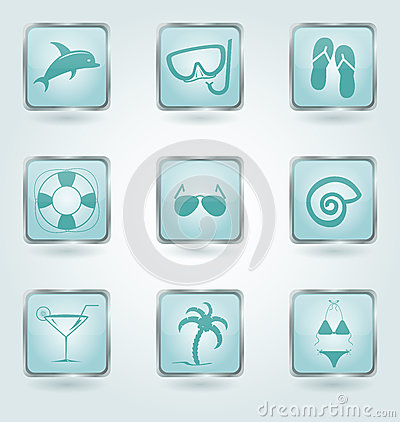 Free Vector Buttons With Vacation Icons. Royalty Free Stock Photo - 30621915