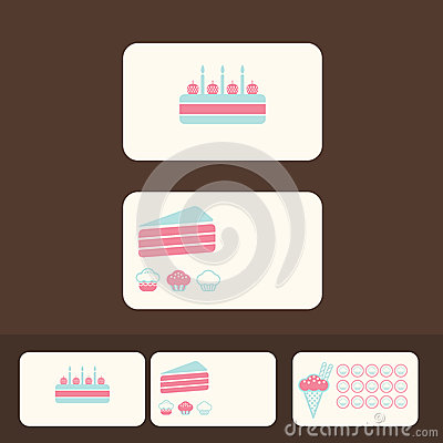Vector cakes business cards, discount and promotional cards