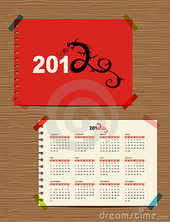 Vector calendar 2012, dragon symbol