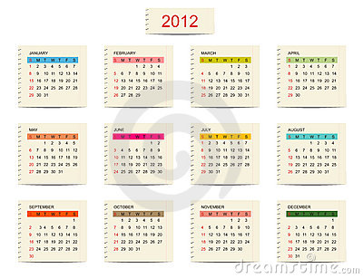 Vector calendar 2012 for your design