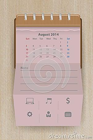 Vector calendar august 2014
