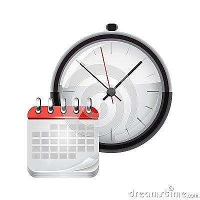 Vector calendar with a clock
