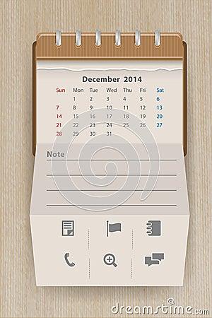 Vector calendar december 2014