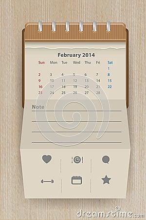 Vector calendar february 2014