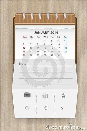 Vector calendar january 2014