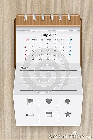 Vector calendar july 2014