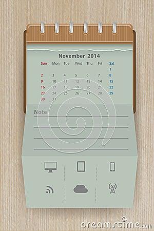 Vector calendar november 2014
