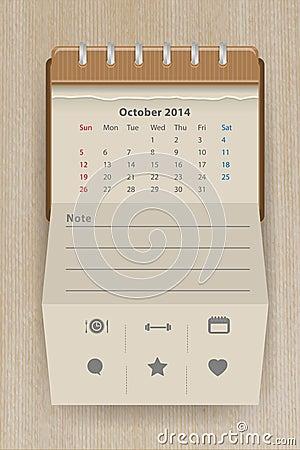 Vector calendar october 2014
