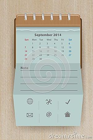 Vector calendar september 2014