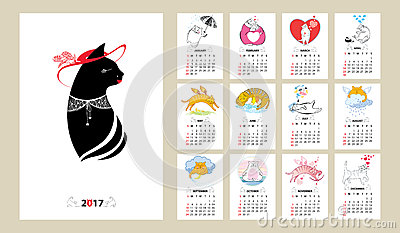 Vector calendar set for 2017 year in line art and contour style Vector Illustration
