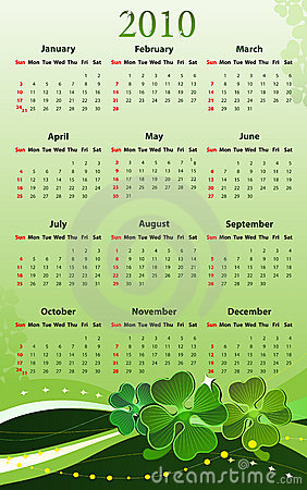 Vector calendar for St. Patricks Day