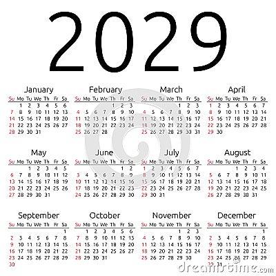 Simple 2029 year calendar, week starts on Sunday, EPS 8 vector.