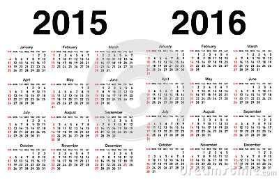 Calendar For 2014 And 2015 In Vector Stock Images - Image: 27166084