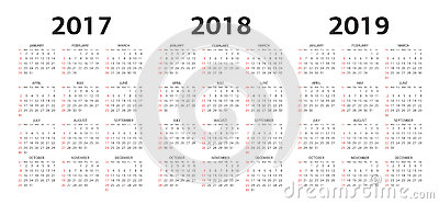 Vector calendar templates 2017, 2018, 2019 Vector Illustration
