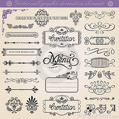 Free Vector Calligraphic Decoration Elements Set Royalty Free Stock Image - 24004386