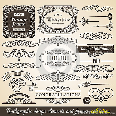 Vector Calligraphic element Border Corner Frame and Invitation Collection. Decoration Typographic Elements, Vintage Labels, Ribbon Vector Illustration