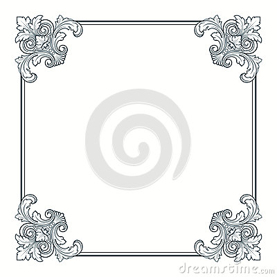 Free Vector Calligraphic Ornate Vintage Frame Border Stock Photography - 24866012