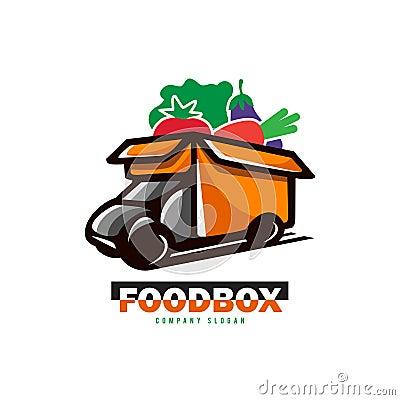 Food box truck Vector Illustration