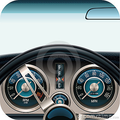Vector car dashboard square icon