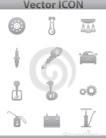 Vector car set icons. auto service square