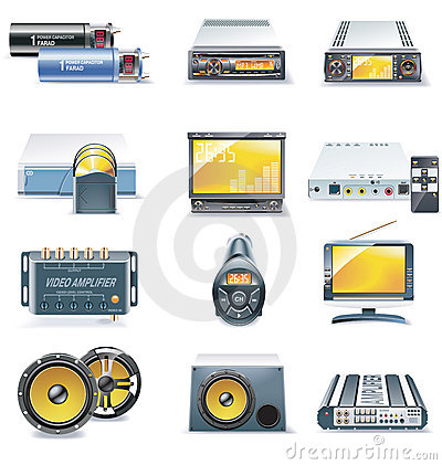 Vector car stereo systems icons