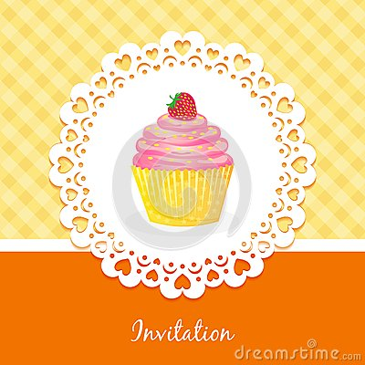 Vector card with cake and strawberries