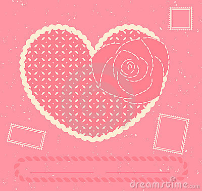 Vector card with heart, rose and three postage sta