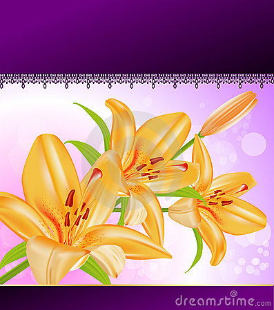 Vector card: orange lilies