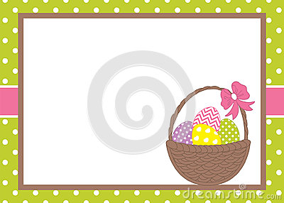 Vector Card Template with a Basket and Easter Eggs on Polka Dot Background. Easter Card Template. Vector Illustration