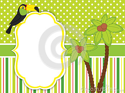 Vector Card Template with a Cute Cartoon Toucan and Palm Trees. Vector Illustration