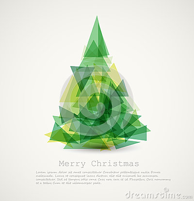 Free Vector Card With Abstract Green Christmas Tree Stock Photo - 25926820