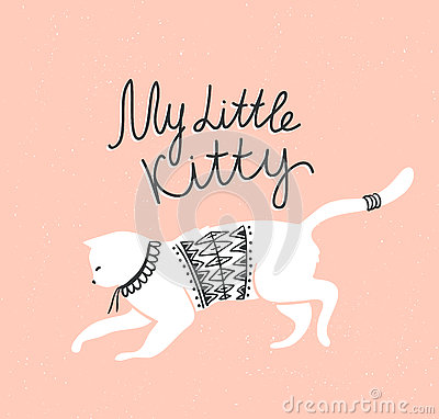 Free Vector Card With Cute White Cat And Stylish Lettering  My Little Kitty  Royalty Free Stock Photography - 74096637