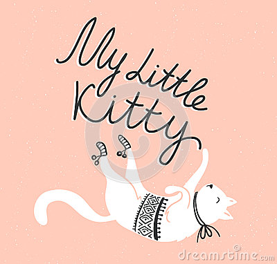Free Vector Card With Cute White Cat And Stylish Lettering  My Little Kitty  Stock Photo - 74096640