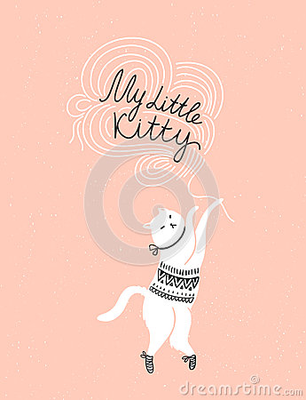 Free Vector Card With Cute White Cat And Stylish Lettering  My Little Kitty  Stock Images - 74096644