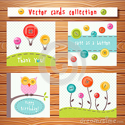 Free Vector Cards Collection With Cute Buttons. Perfect Royalty Free Stock Photos - 54558628