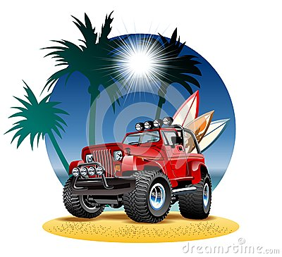 Free Vector Cartoon 4x4 Car On Beach Royalty Free Stock Images - 50338179