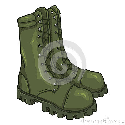 Free Vector Cartoon Army Boots. High Military Shoes Stock Images - 92748114